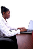 African Amrican Woman With Computer Stock Photo