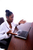 African Amrican Woman With Computer Royalty Free Stock Image