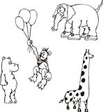 African Animal Cartoons. African Animal Cartoon Characters. Set of black and white vector illustrations Stock Images