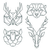 African animal icons, vector icon set. Abstract triangular style Royalty Free Stock Photo