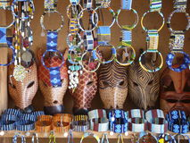 African animal masks and Masai jewelry Stock Images