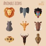 African Animal Portrait Set with Flat Design Royalty Free Stock Photography
