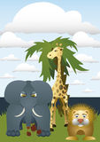 African animals. Lion, elephant and giraffe. It stands on an island with palm tree Stock Image