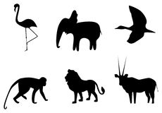 African animals. Vector picture of silhouettes of animals of Africa vector illustration