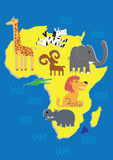 African animals. Cartoon sketches of various African animals, including the lion, giraffe, zebra, elephant and hippo stock illustration