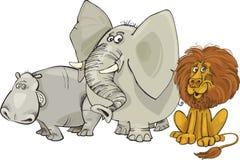 African animals. Cartoon illustration of african animals group Stock Photos