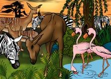 African Animals. Cartoon Background Illustration, Bitmap Royalty Free Stock Image