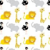 African   animals   baby animal  Seamless Pattern Stock Image