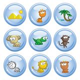 African animals buttons Stock Photography