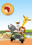 African animals in the car vector illustration