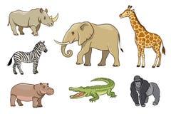African animals in cartoon style Stock Photo