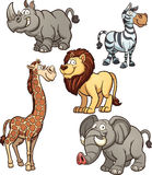 African animals. Cartoon African animals. Vector clip art illustration with simple gradients. Each on a separate layer Stock Image