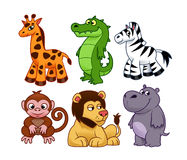 African animals. Cartoon african animals on the white background Royalty Free Stock Photos