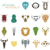 African Animals color icons Royalty Free Stock Images