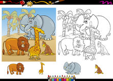 African animals coloring page set stock illustration