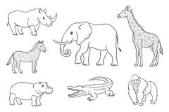 African animals in contours Royalty Free Stock Image