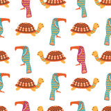 African animals cute seamless pattern. With colorful ornamental turtle and kiwi bird, vector illustration Royalty Free Stock Image
