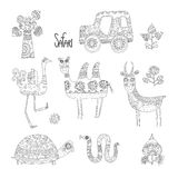 African animals decorated with a pattern. For your design and children's creativity. Royalty Free Stock Photo