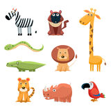 African Animals Fun Cartoon Clip Art Collection Stock Photo