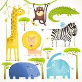 African Animals Fun Cartoon Clip Art Collection. Brightly colored childish african animals set. Vector illustration EPS10 Stock Images