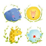 African Animals Fun Cartoon Portraits with Wreath Royalty Free Stock Photo