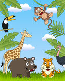 African Animals Group [3]. A funny cartoon scene with african animals in the savanna. Eps file available