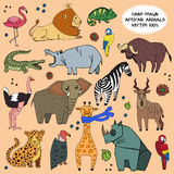 African animals hand drawn illustration vector set. Stock Photo
