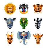 African Animals Heads Masks Flat Icons Stock Images