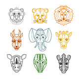 African Animals Heads Masks Line Icons Stock Photos