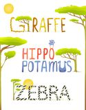 African Animals Hippopotamus Giraffe Zebra Fun Stock Image