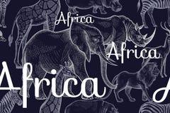 African animals hyena, okapi, cheetah, gorilla, warthog, lemur. Royalty Free Stock Photo