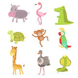 African Animals Icon Set Stock Photography
