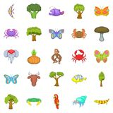 African animals icons set, cartoon style. African animals icons set. Cartoon set of 25 african animals vector icons for web isolated on white background Stock Photography