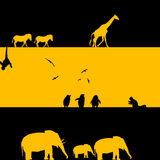 African Animals Illustration. In black and yellow Stock Image