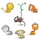 African animals isolated. A set of comic figures African animals. Isolated. Icons Stock Photos