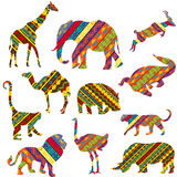 African animals made of ethnic textures Stock Photos