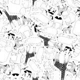 African animals pattern, black and white Stock Photos