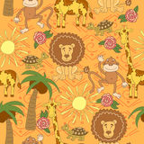 African animals pattern. Seamless pattern with turtle, lion, monkey, giraffe, palm tree, sun, grass, and flowers. Stock Photos