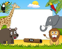 African Animals Photo Frame [1]. A funny cartoon photo frame with african animals in the savanna. Eps file available Stock Images