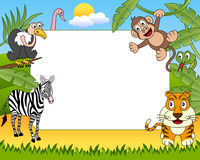 African Animals Photo Frame [2]. A funny cartoon photo frame with african animals in the savanna. Eps file available