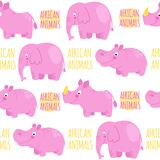 African animals pink vector seamless pattern: elephant, rhino, h Royalty Free Stock Images