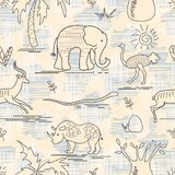 African animals and plants doodle. Safari animals seamless pattern stock illustration