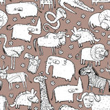 African Animals Seamless Pattern Stock Images