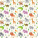 African animals seamless pattern. Cute cartoon childish animals. Stock Photos