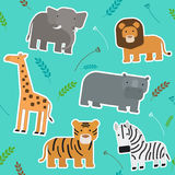 African Animals Seamless Pattern. Flat Design Vector Illustration Royalty Free Stock Images