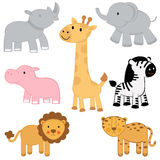African animals set. A cute collection of african animals Stock Photography