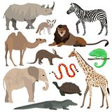 African animals set. Elephant, giraffe, buffalo, hippo, rhino, lion, cheetah, antelope, ostrich, hyena, lemur, gorilla. African animals set. Elephant, giraffe royalty free illustration