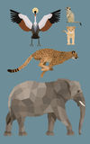 African animals set - Flat design Stock Images