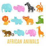 African animals set isolated Stock Photos