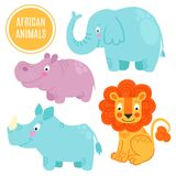 African animals set isolated on white background. Royalty Free Stock Photo